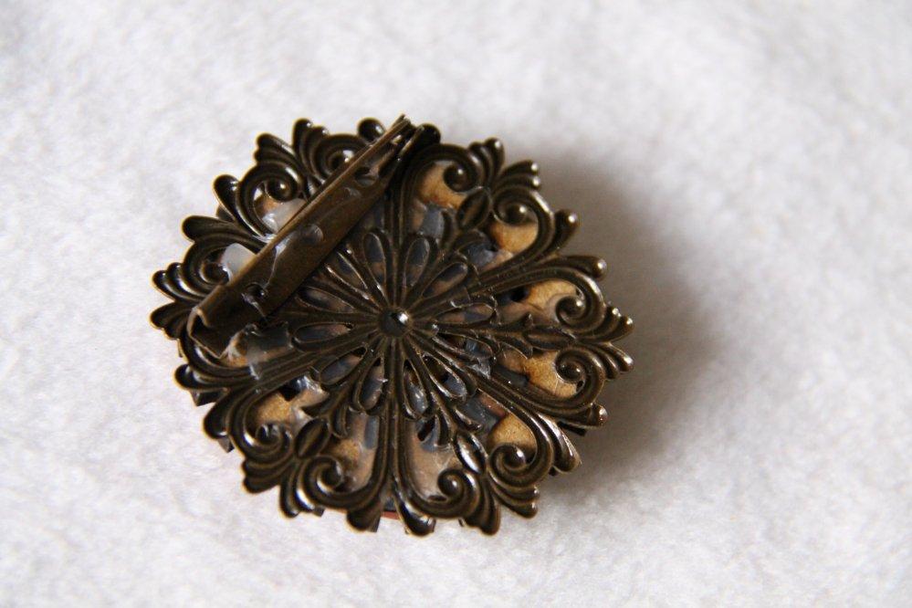 Broche médaillon rond Steampunk rouge bois et bronze--9995942059944