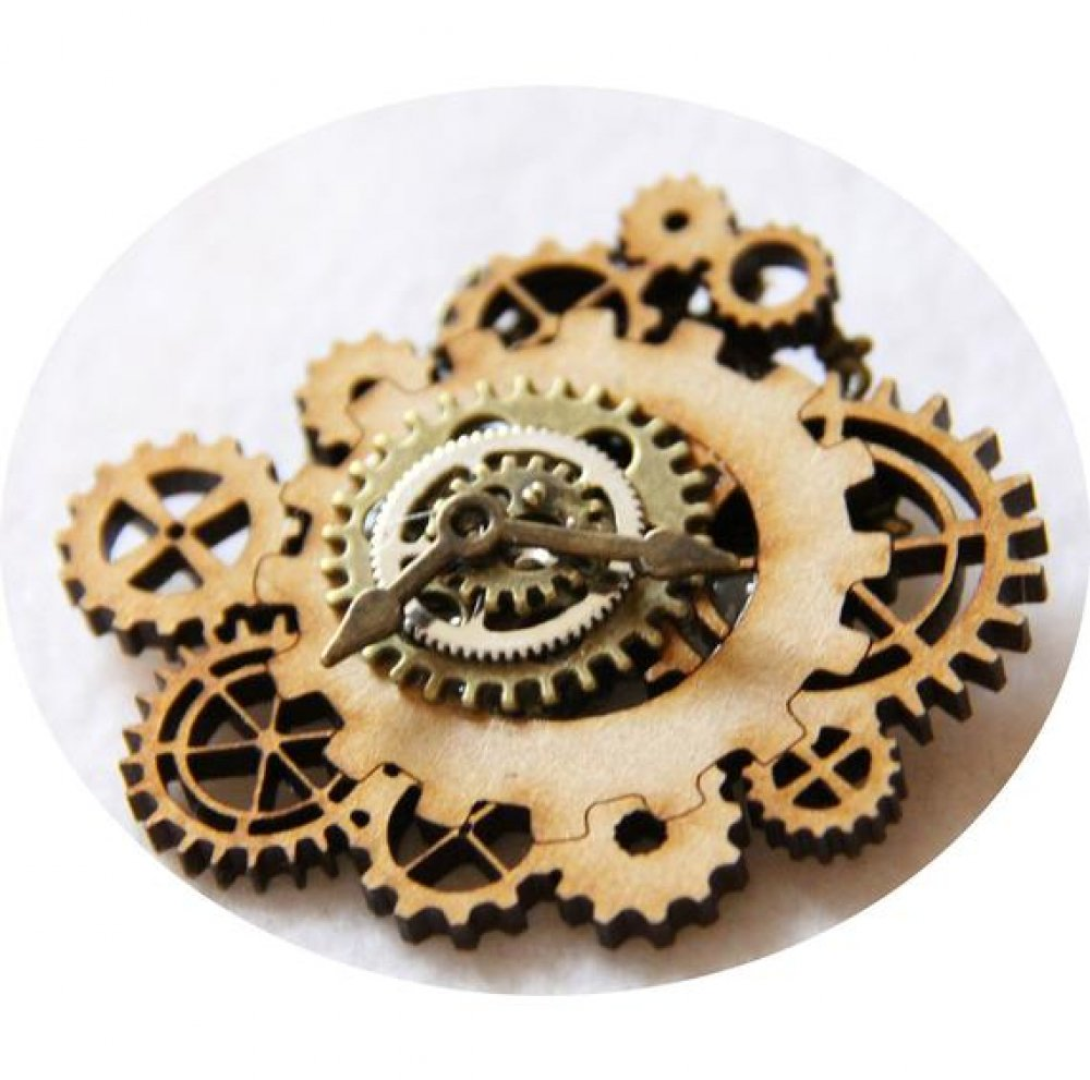 Broche steampunk rouages en bronze et bois, broche steampunk engrenages bronze,broche bois et bronze--9995494781621