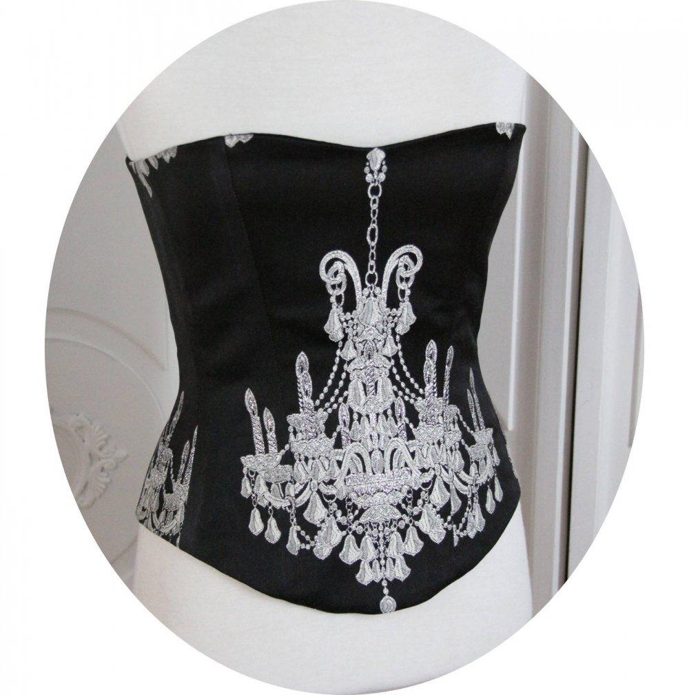 Bustier- corset Baroque, motif argent sur fond noir, bustier baroque noir et argent,corset baroque noir et argent,chandelier argent, lacage--9995494795840