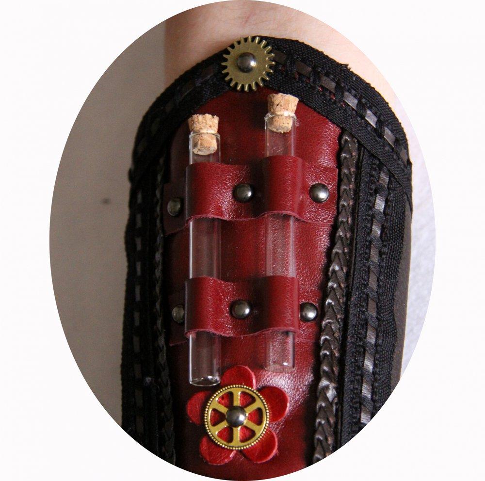 Canon de bras steampunk gothique victorien en cuir marron et bordeau--9995924784451