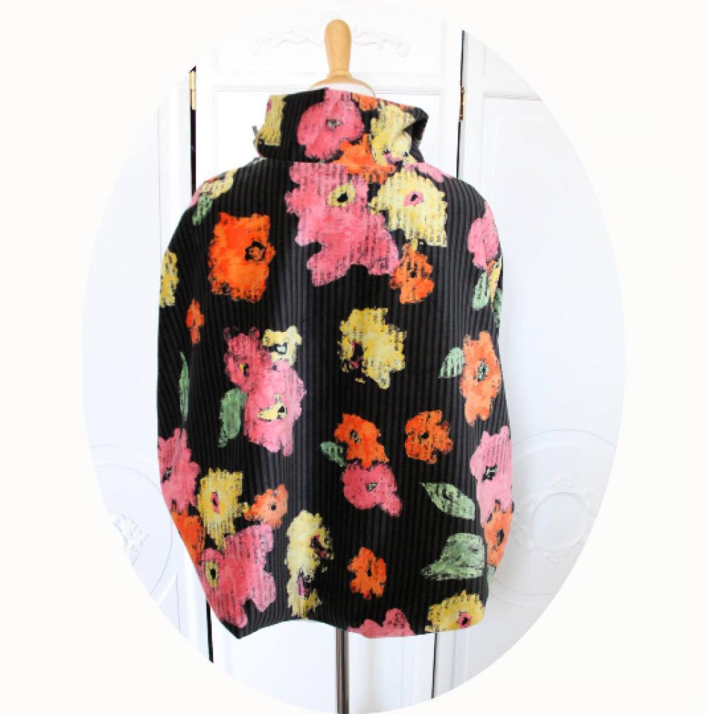 Capeline poncho en velour noir et gris a fleurs coquelicot rouge orange et doublure coton corail--9995983588168