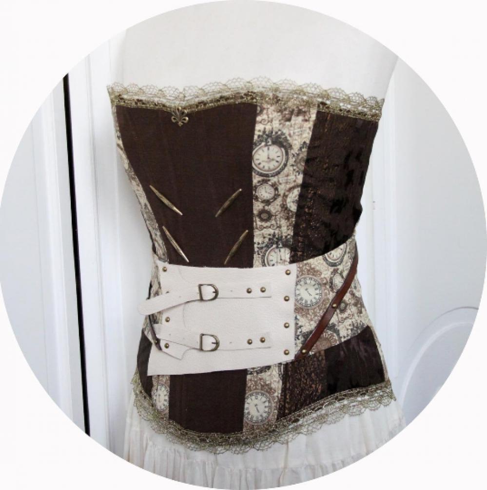 Ceinture serre-taille Steampunk en cuir ivoire et tissu horloges marron--9995927685137