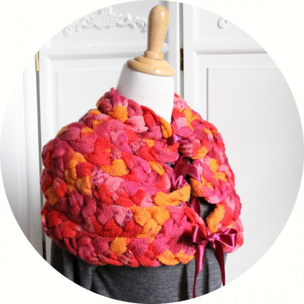 Chauffe épaule en laine chinée rose orange violet tricoté avec noeud en satin--9995983506230