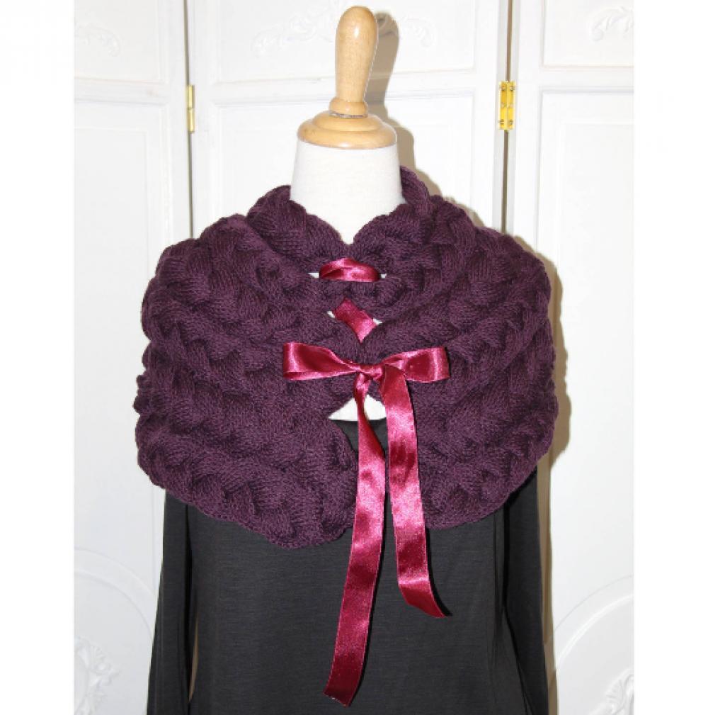 Chauffe épaule en laine mauve tricoté avec noeud en satin--9995983500429
