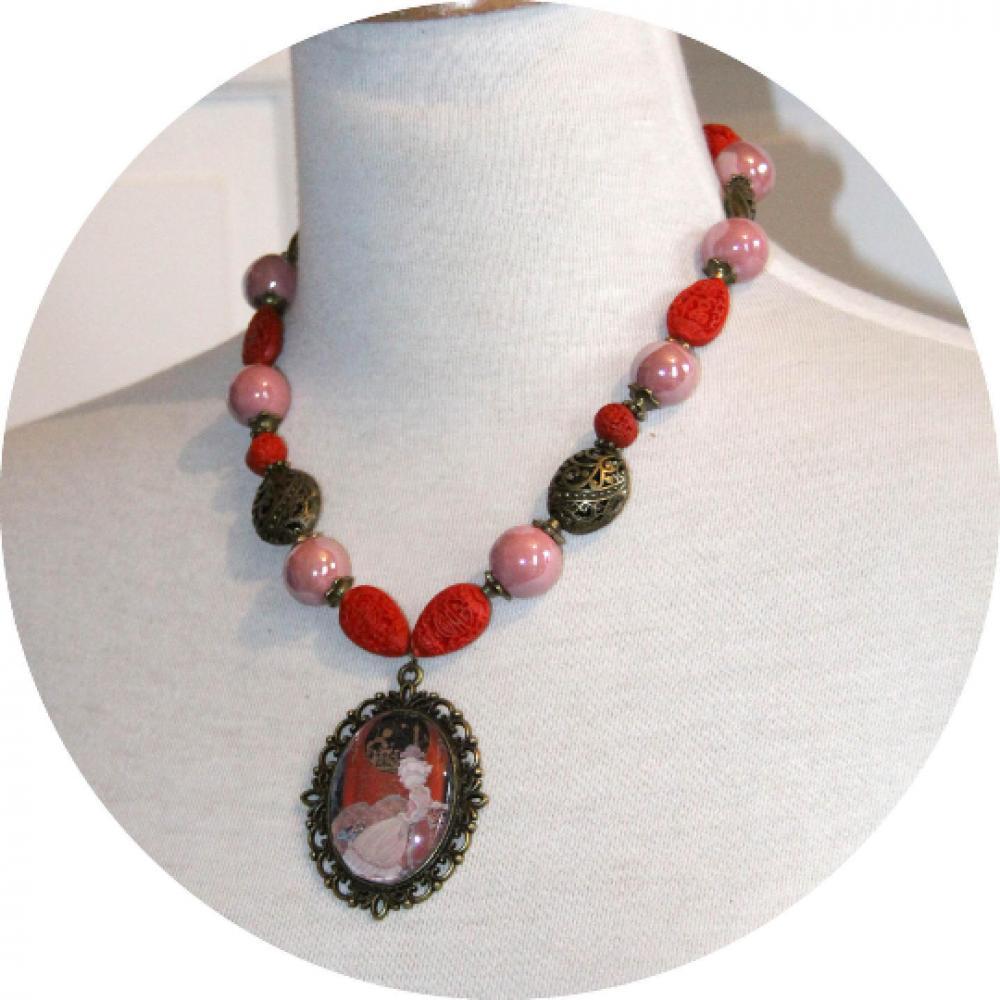 Collier cabochon Gravure de Mode Le Boudoir Asiatique années 20 rose rouge et bronze--9995579493777