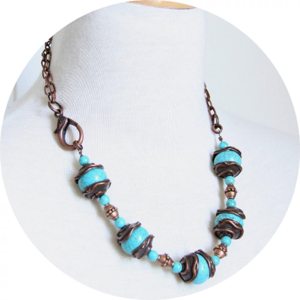 Collier esprit antique en pierre howlite bleu turquoise et perles en cuivre sur chaine cuivre--9995588152016
