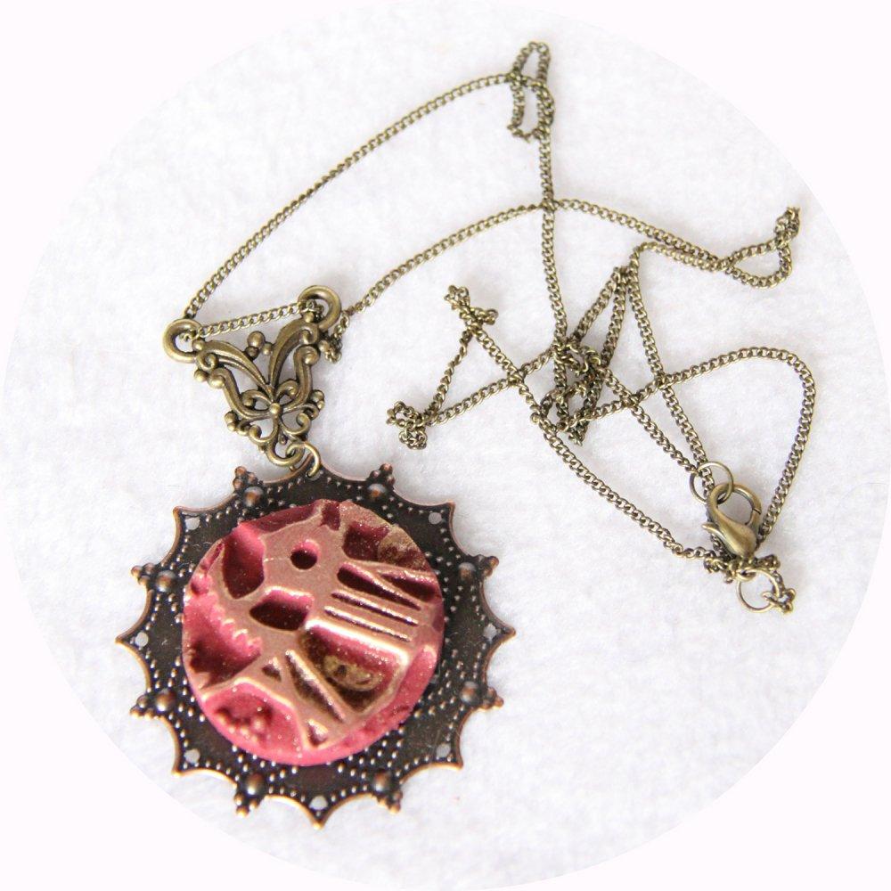 Collier pendentif léger rond rouge et or steampunk--9995941071251