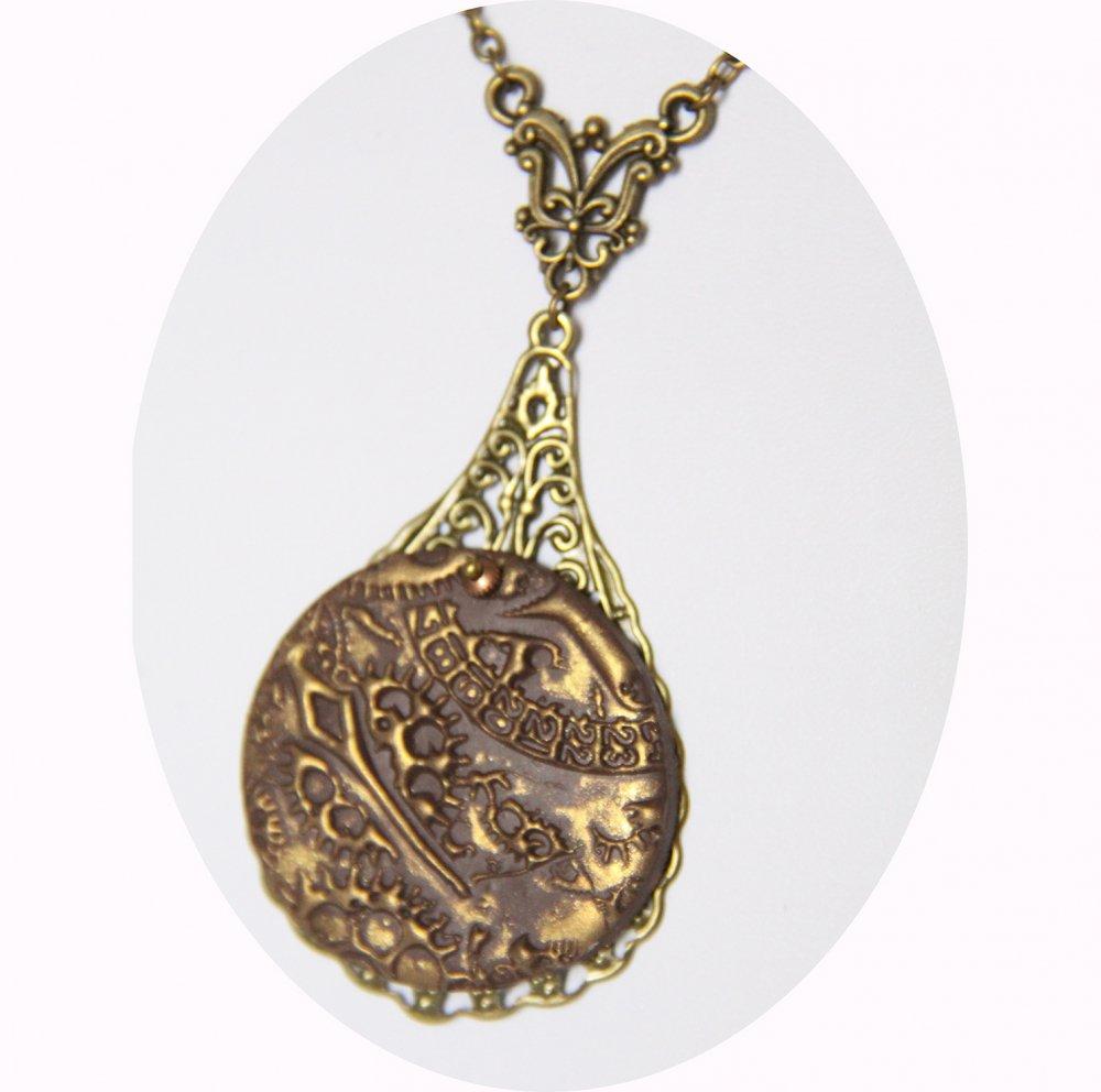 Collier pendentif léger rond marron et or steampunk sur goutte bronze--9995941250243