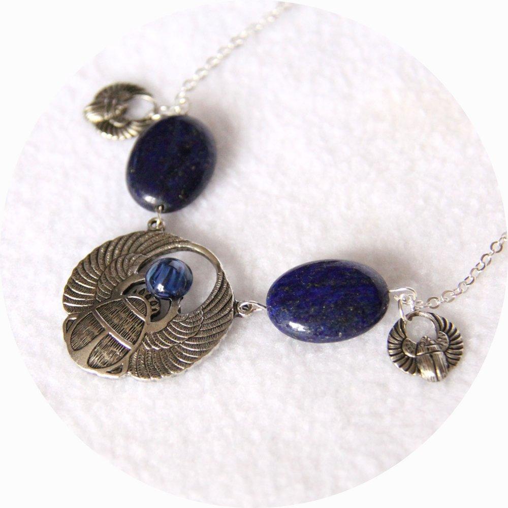 Collier Scarabée argent bleu en lapis lazuli--9995968782833
