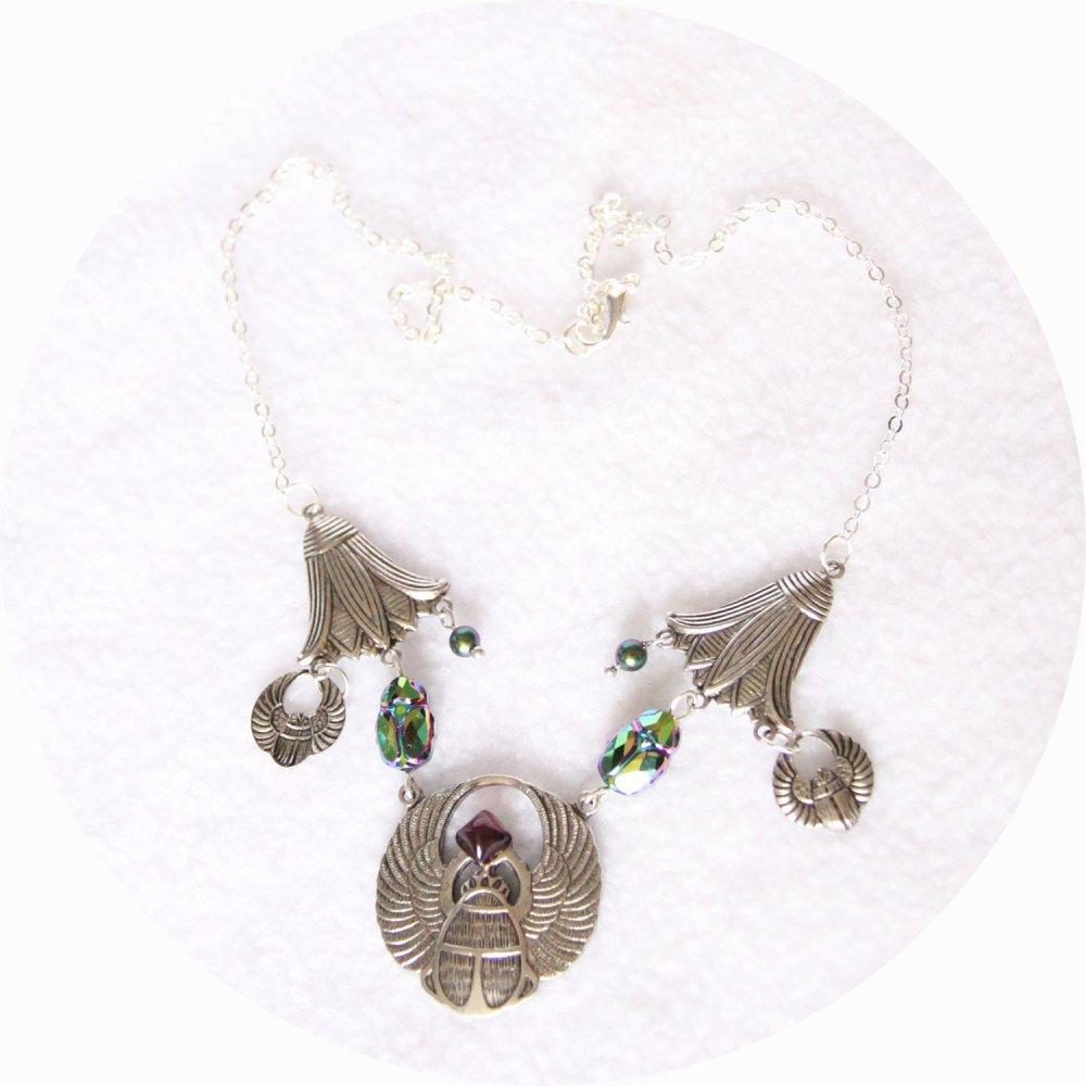 Collier Scarabée et fleur de lotus argent et cristal Swarovski--9995968786268