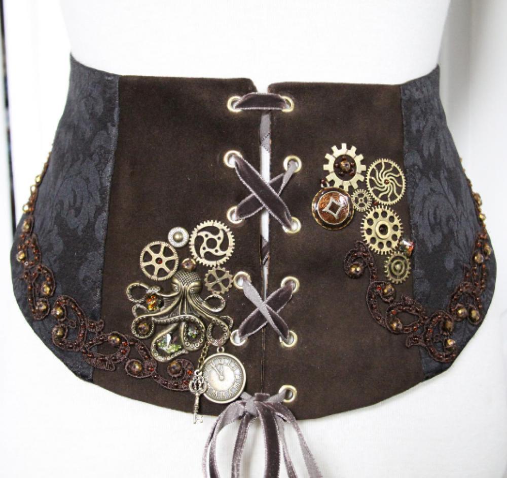 Corset Serre-taille Steampunk marron en cuir et brocard marron brodée main avec pieuvre horloge et rouages bronze--9995576897103