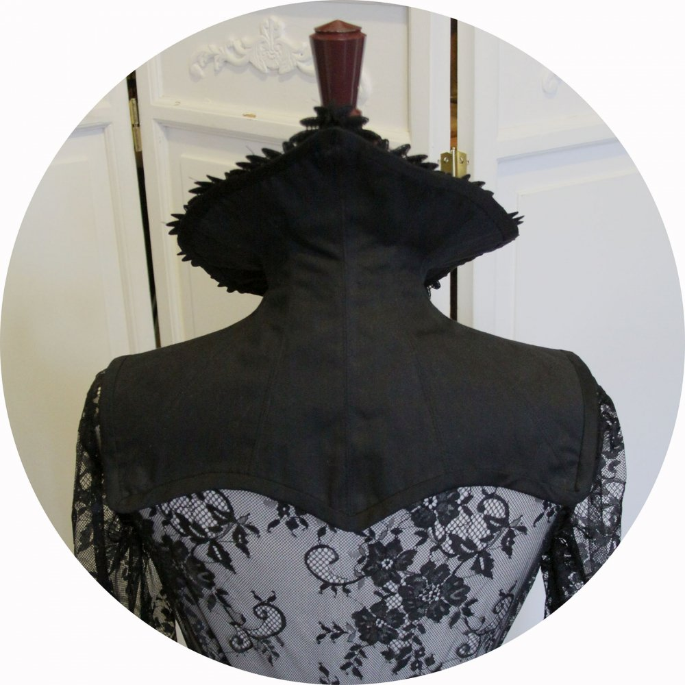 Col steampunk gothique en coutil noir avec bordure en guipure--9995867013298