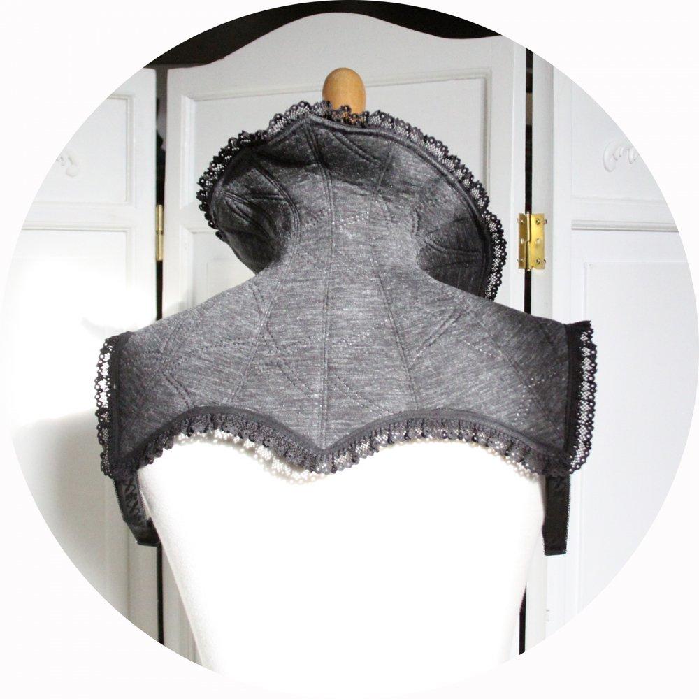 Col steampunk gothique gris et noir avec bordure en dentelle--9995866367378