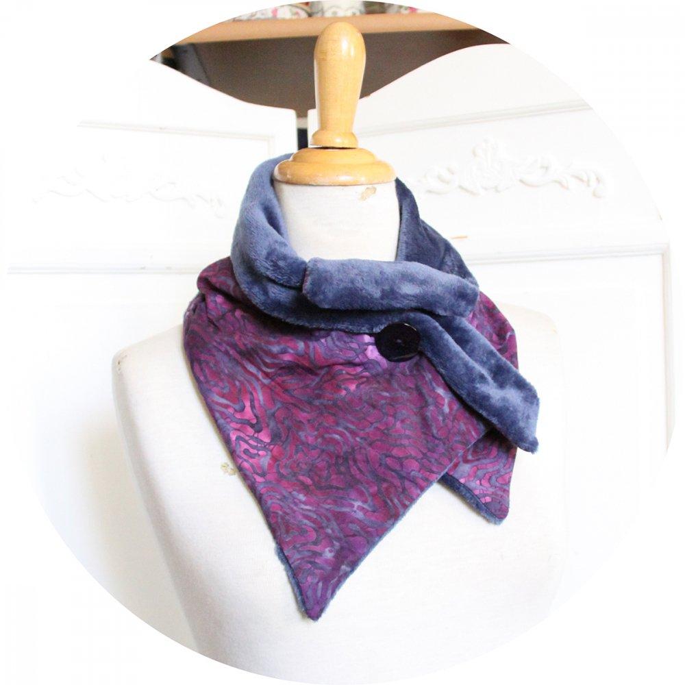 Col tour de cou bleu et mauve en batik et fourrure polaire bleue--9996061480114