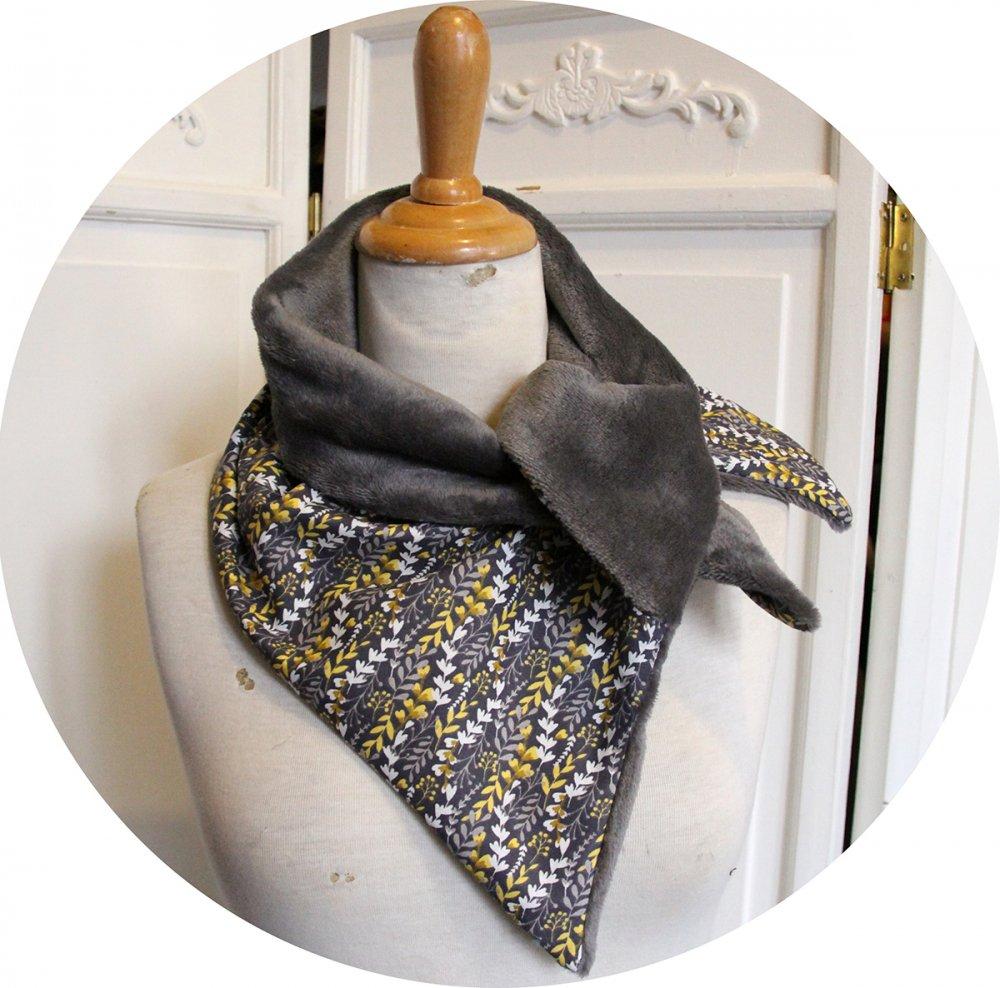 Col tour de cou gris et jaune en coton imprimé et doublure polaire grise--9996112160316