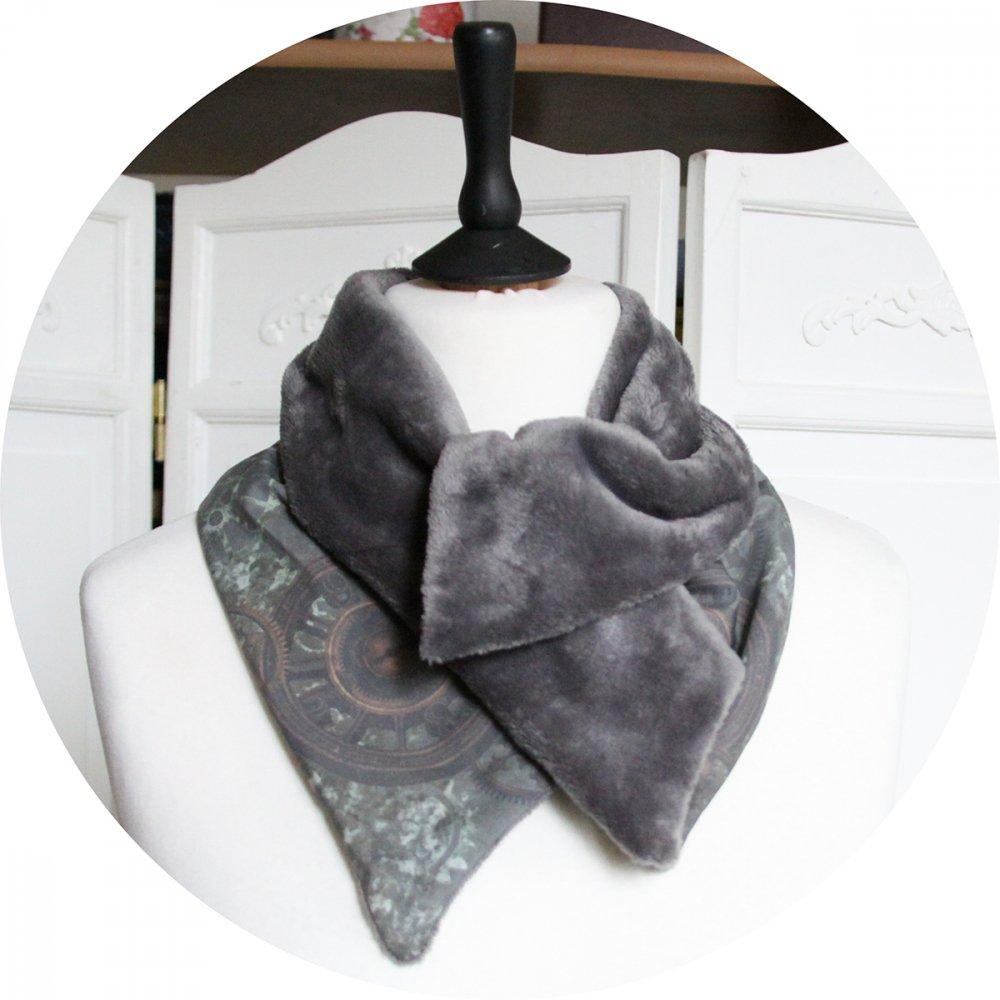 Col tour de cou gris et kaki en coton imprimé horloge et doublure polaire grise--9995767417394