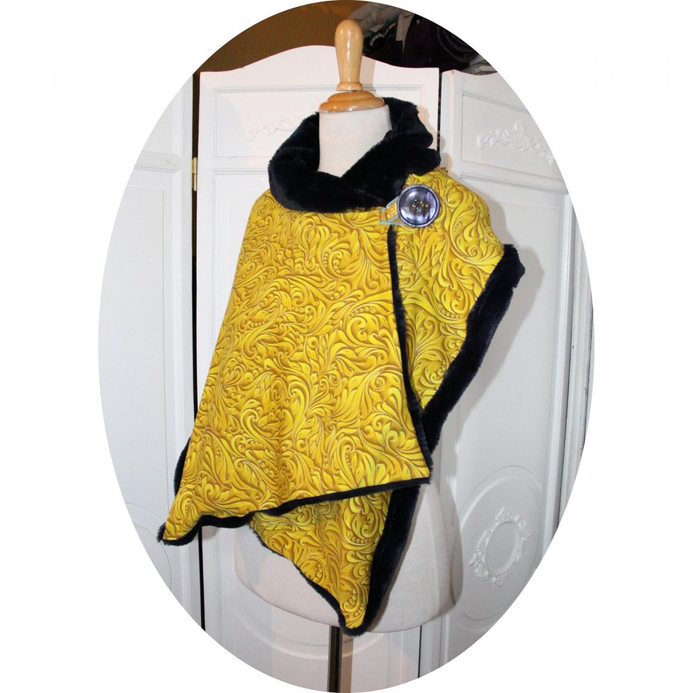 Col tour de cou en molleton jaune moutarde arabesques et polaire bleu marine grand format--9995741984317