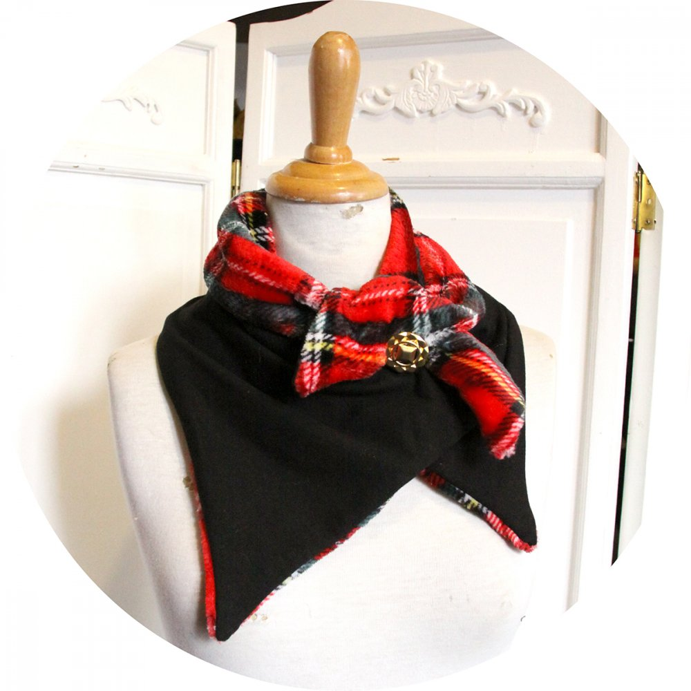Col tour de cou uni noir et polaire tartan rouge--9996126314941