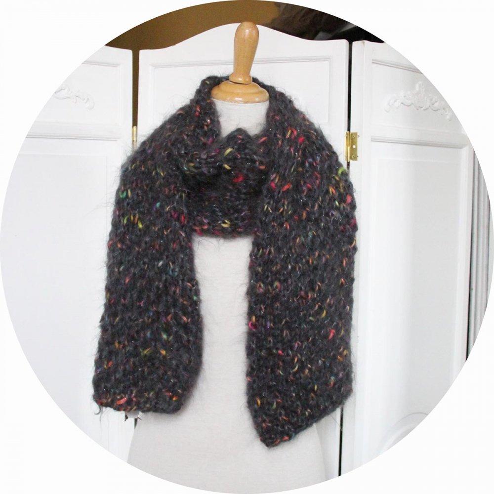 Echarpe en laine mohair grise et fil fantaisie mutlicolore--9995733279803
