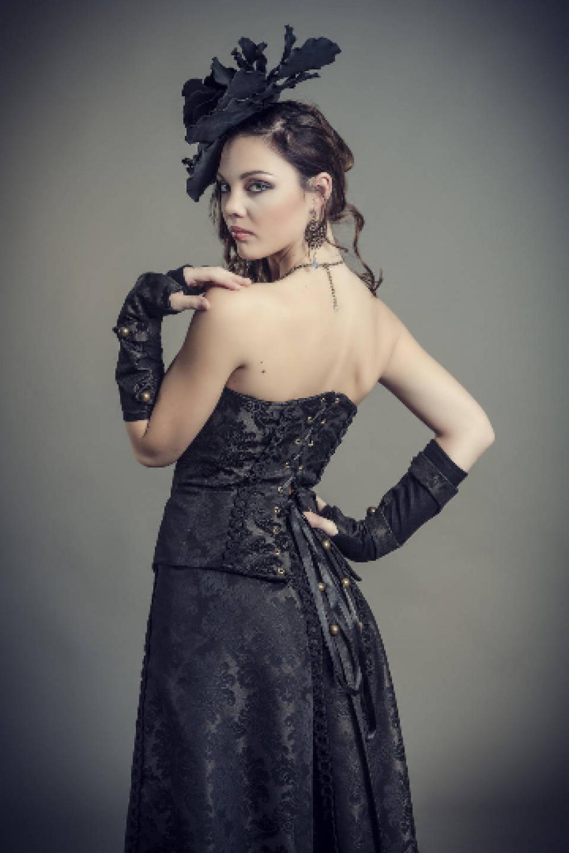 Ensemble bustier style corset et jupe longue et manchettes Belle Epoque en brocard marron et noir--9995541104861