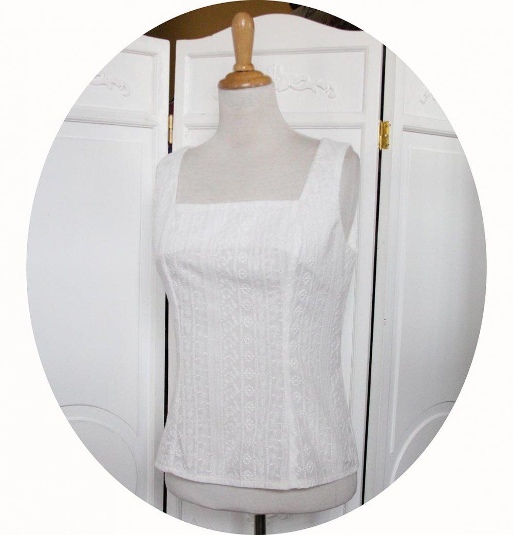 Haut cintré sans manches en broderie anglaise écrue pur coton avec une encolure carrée--9995582096545