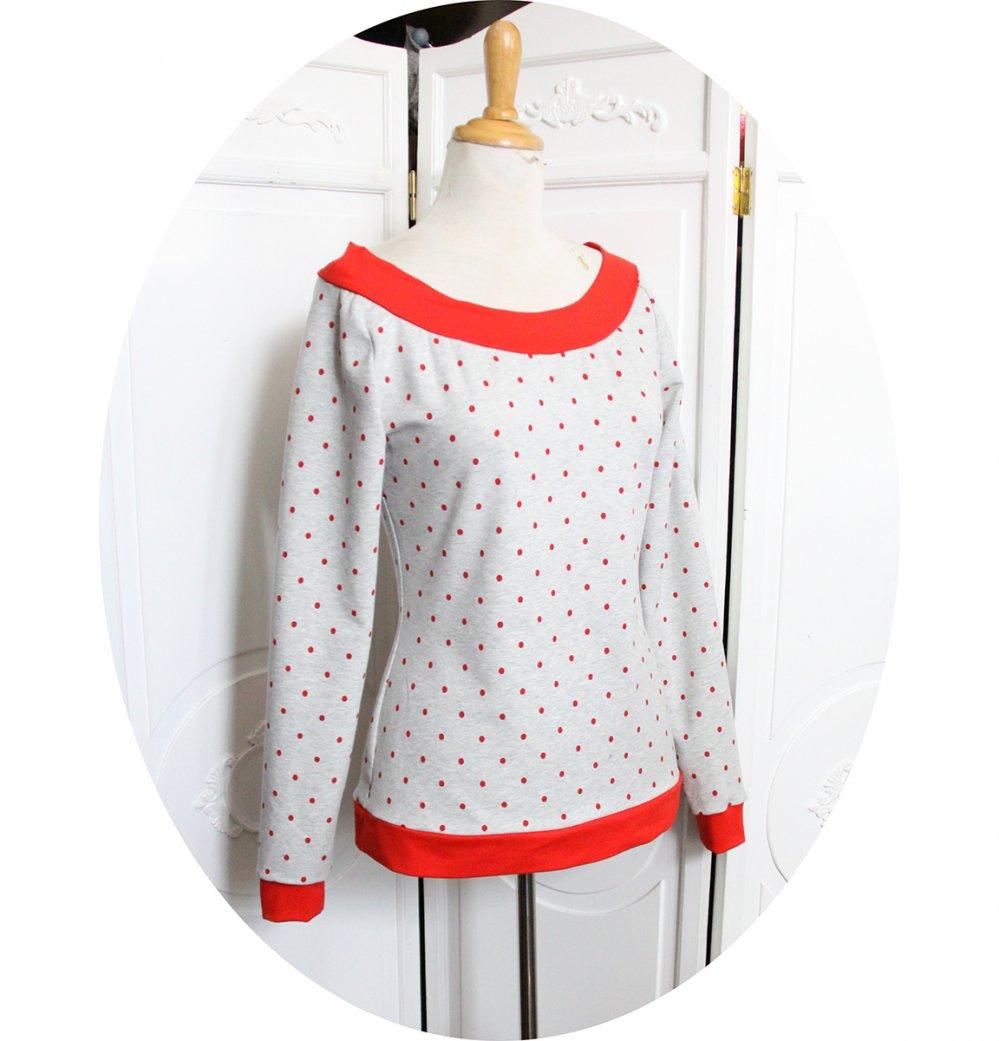 Haut sweatshirt gris chiné à pois rouges à manches longues et encolure danseuse--2226233934822