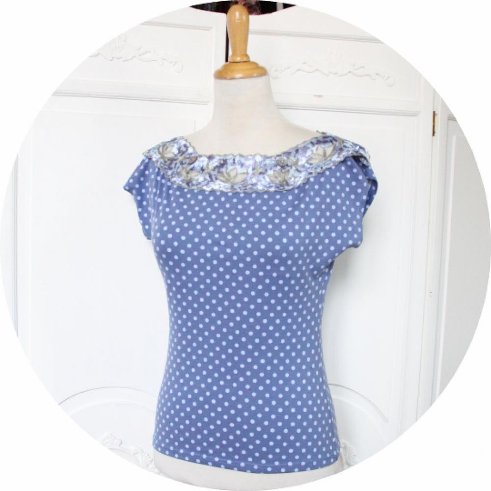 Haut thsirt à manches courtes et col en dentelle bodée en jersey bleu moyen à pois bleus clair--9995684884385