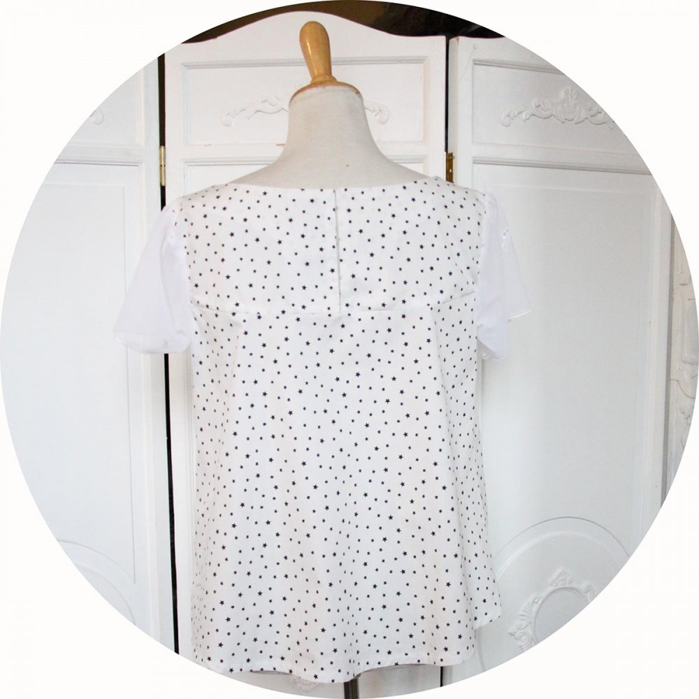 Haut trapeze en coton blanc à étoiles blanches avec manches en tulle blanc brodé étoile filante--9995580752863