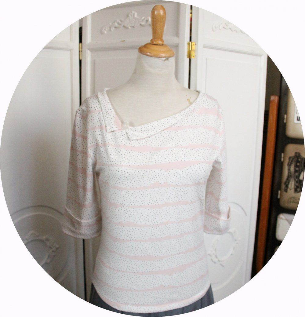 Haut tshirt à manches trois quart et encolure bateau en jersey blanc à mini pois noirs--9995884363819