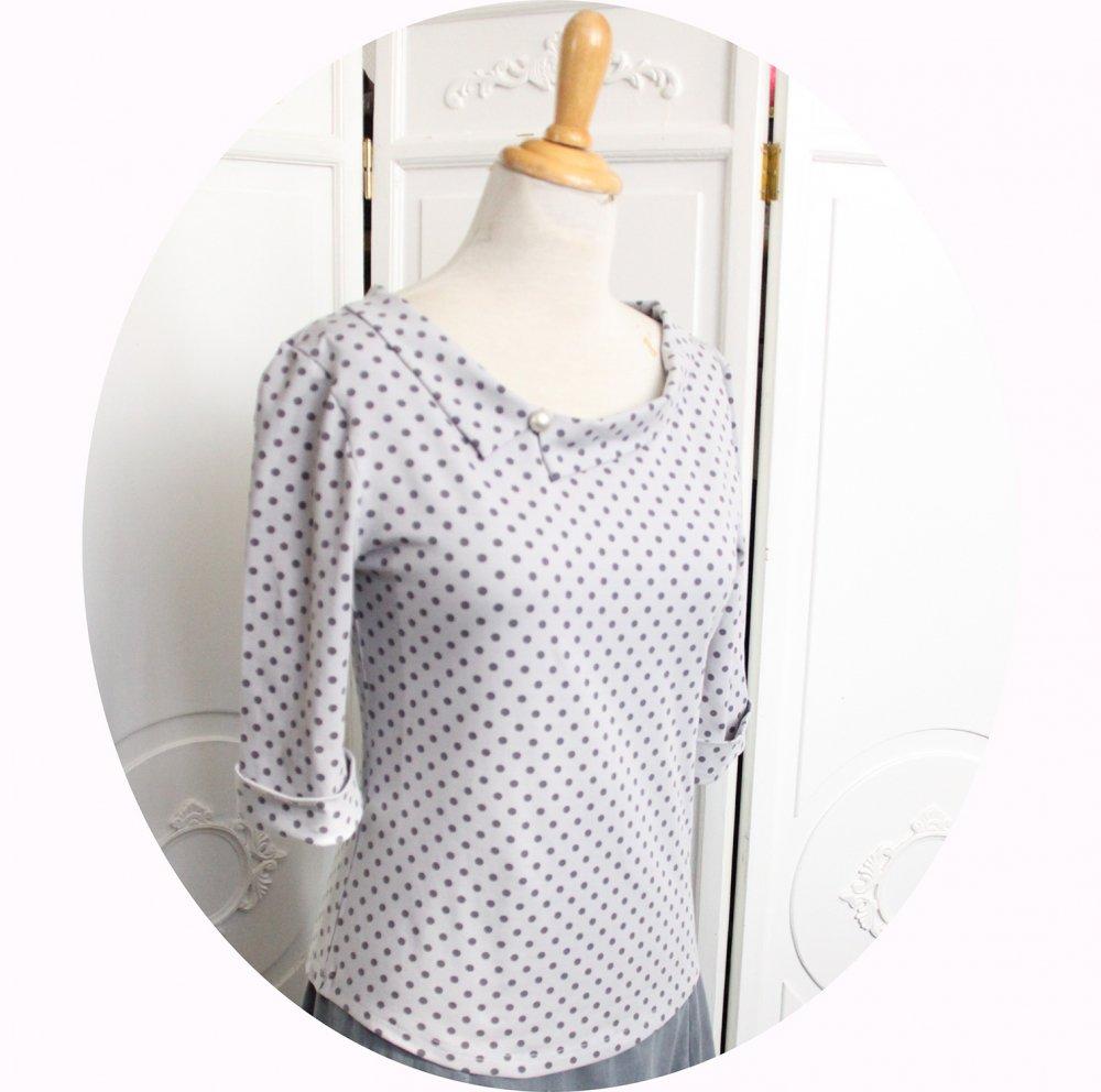 Haut tshirt à manches trois quart et encolure bateau en jersey gris perle à pois--9995884290917