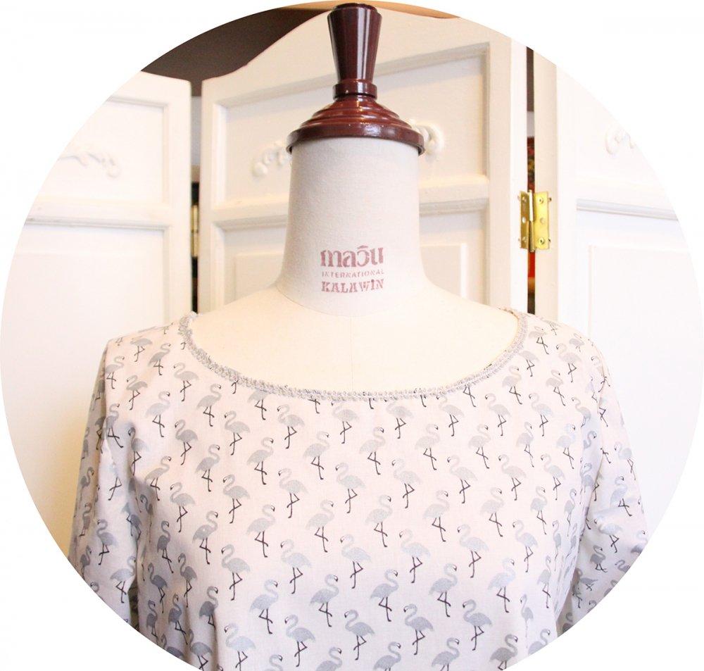 Haut tunique trapeze en coton blanc imprimé pélicans argent--2226175294336