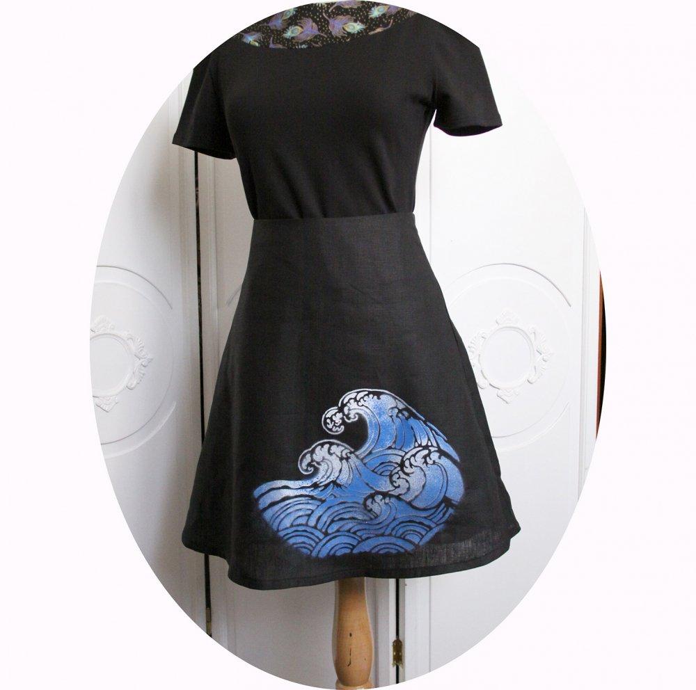 Jupe courte trapeze en lin noir léger et motif vague bleue et blanche--9995931140103