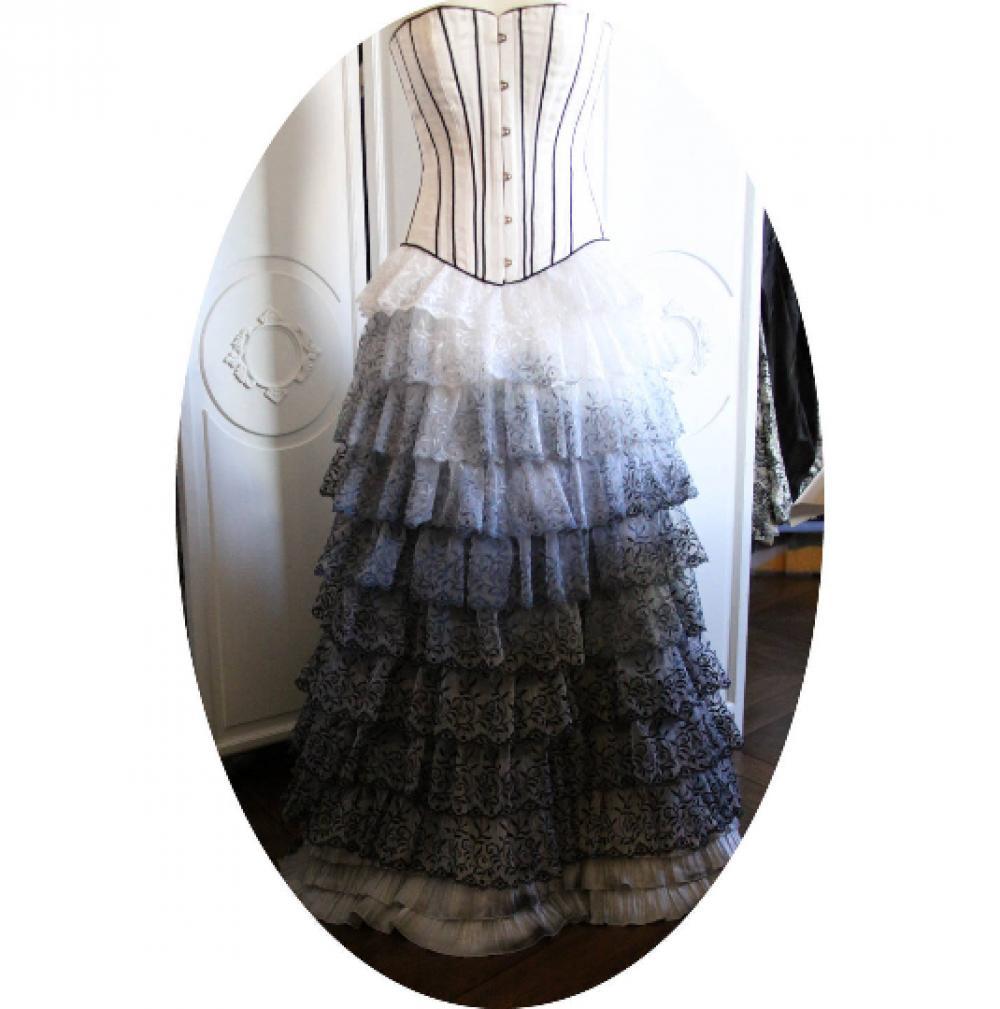 Jupe longue à volants en cascade de dentelle blanc noir et gris--9995565639387