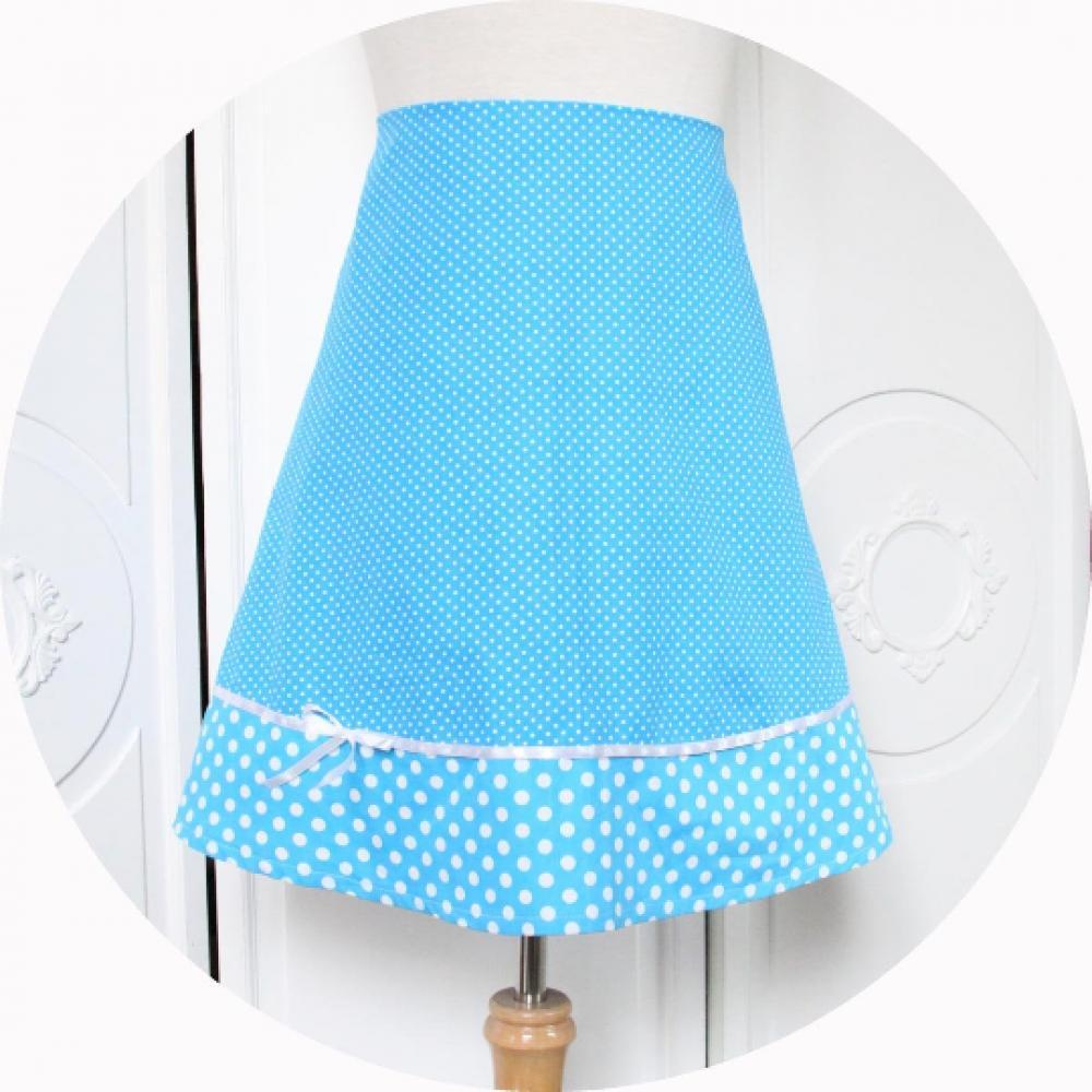 Jupe trapeze courte en coton bleu turquoise a pois blancs et noeud en ruban de satin blanc style pinup--9995618200588
