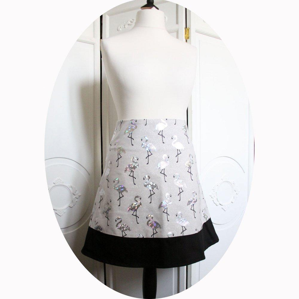Jupe trapeze courte noir et grise à motif de flamand roses à paillettes--9995760119738
