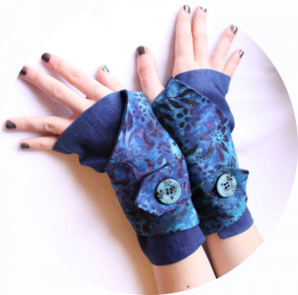Manchettes mitaines bleu violet en lin bleu uni et coton batik bleu violet--9995741490948