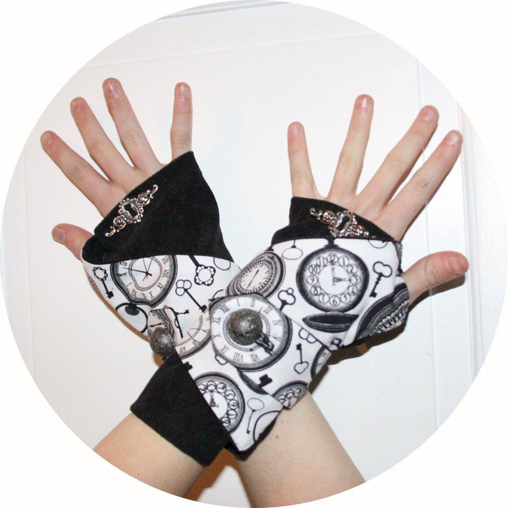 Manchettes mitaines en velours noir et coton imprimé noir et blanc horloge--9995761419585