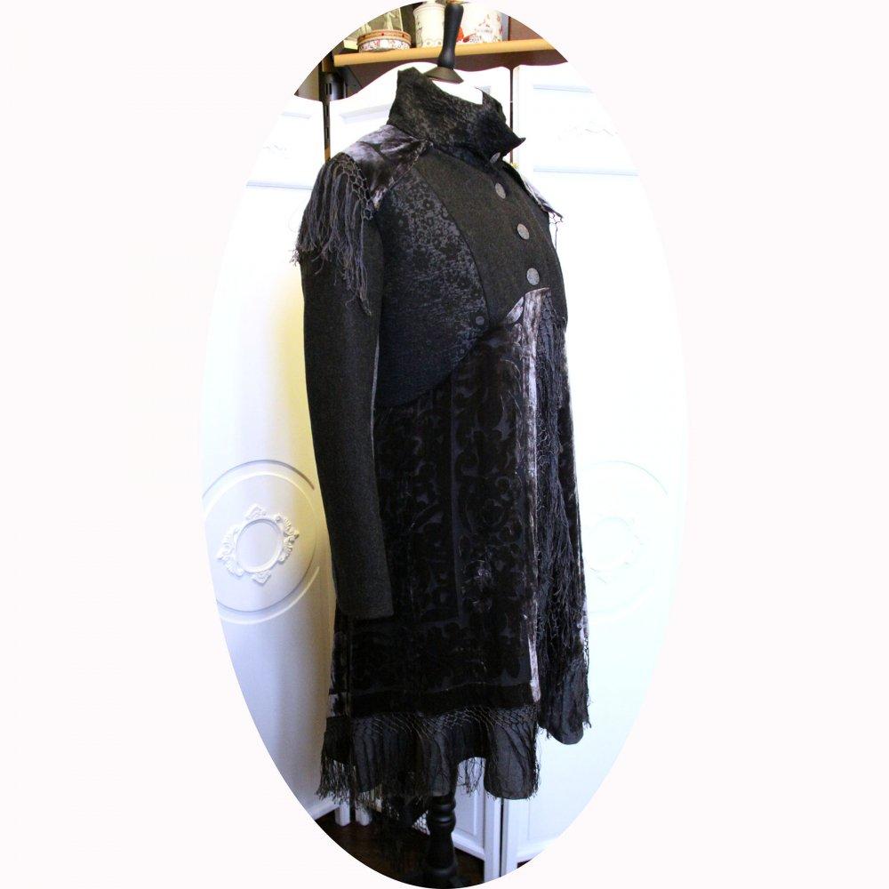 Manteau Spencer de forme trapèze en laine gris anthracite et chale en soie recyclé--9995833114417