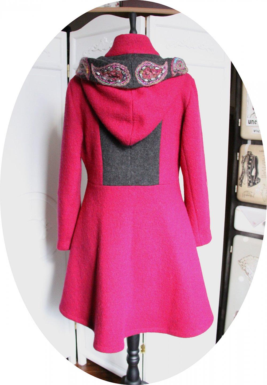 Manteau Spencer de forme trapèze en laine rose et gris foncé brodé à la main--9996112185937