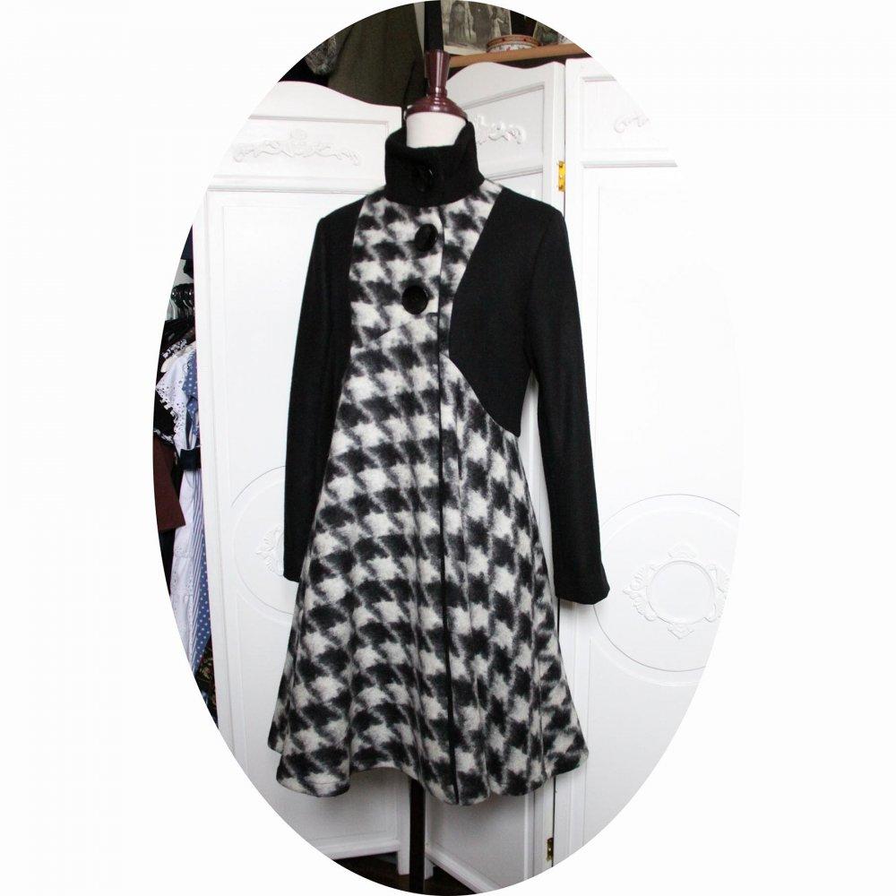 Manteau Spencer de forme trapèze en velours de laine noire et laine bouillie pied de coq avec un col montant--9995731610622