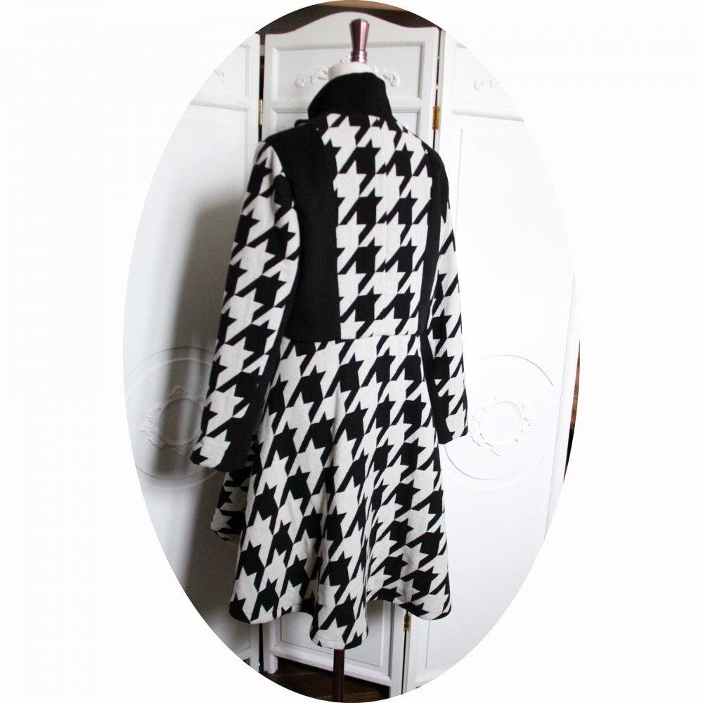 Manteau Spencer de forme trapèze en velours de laine noire et laine pied de coq noir et blanc avec un col montant--9995731615740