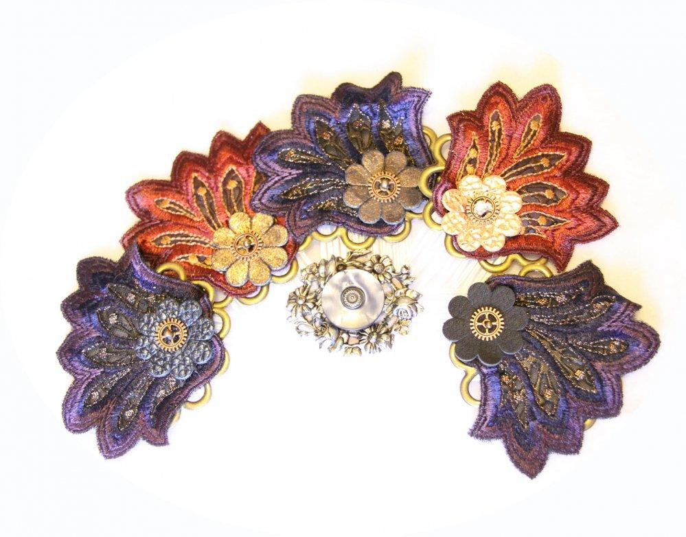 Peigne de cheveux fleur brodée et engrenage--9996055615539