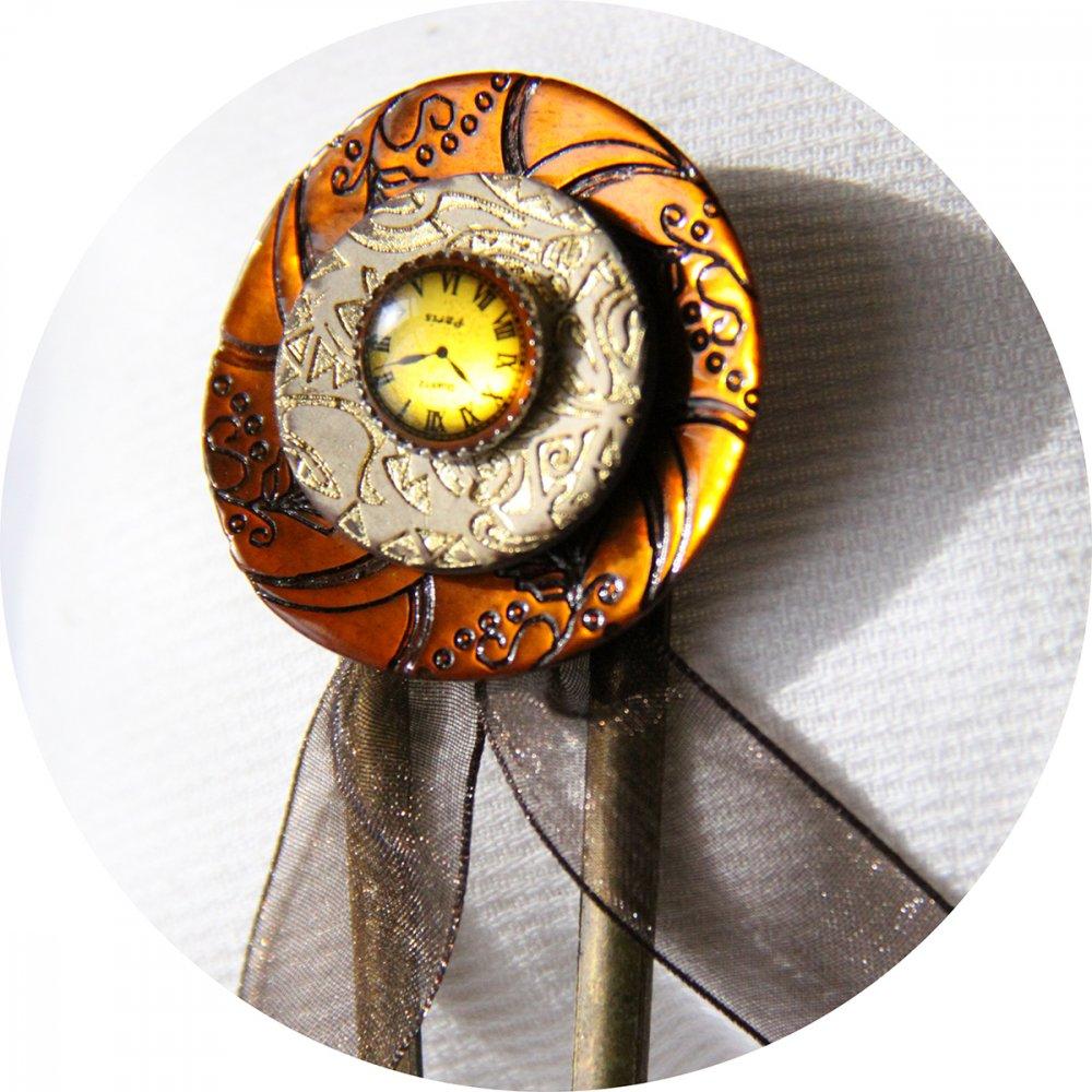 Pic à cheveux Steampunk bronze et ocre--2226194347938