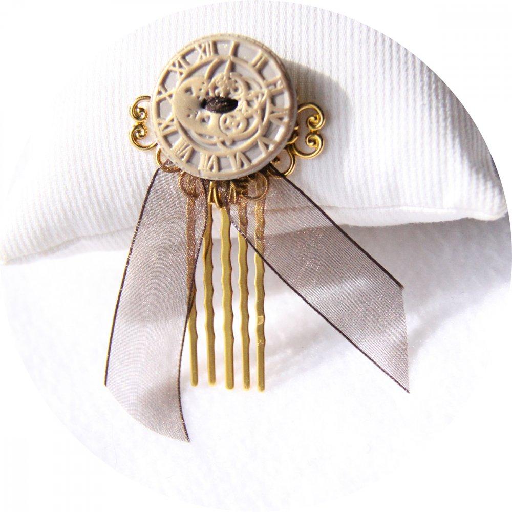 Pic peigne à cheveux Steampunk beige et doré--2226194423489