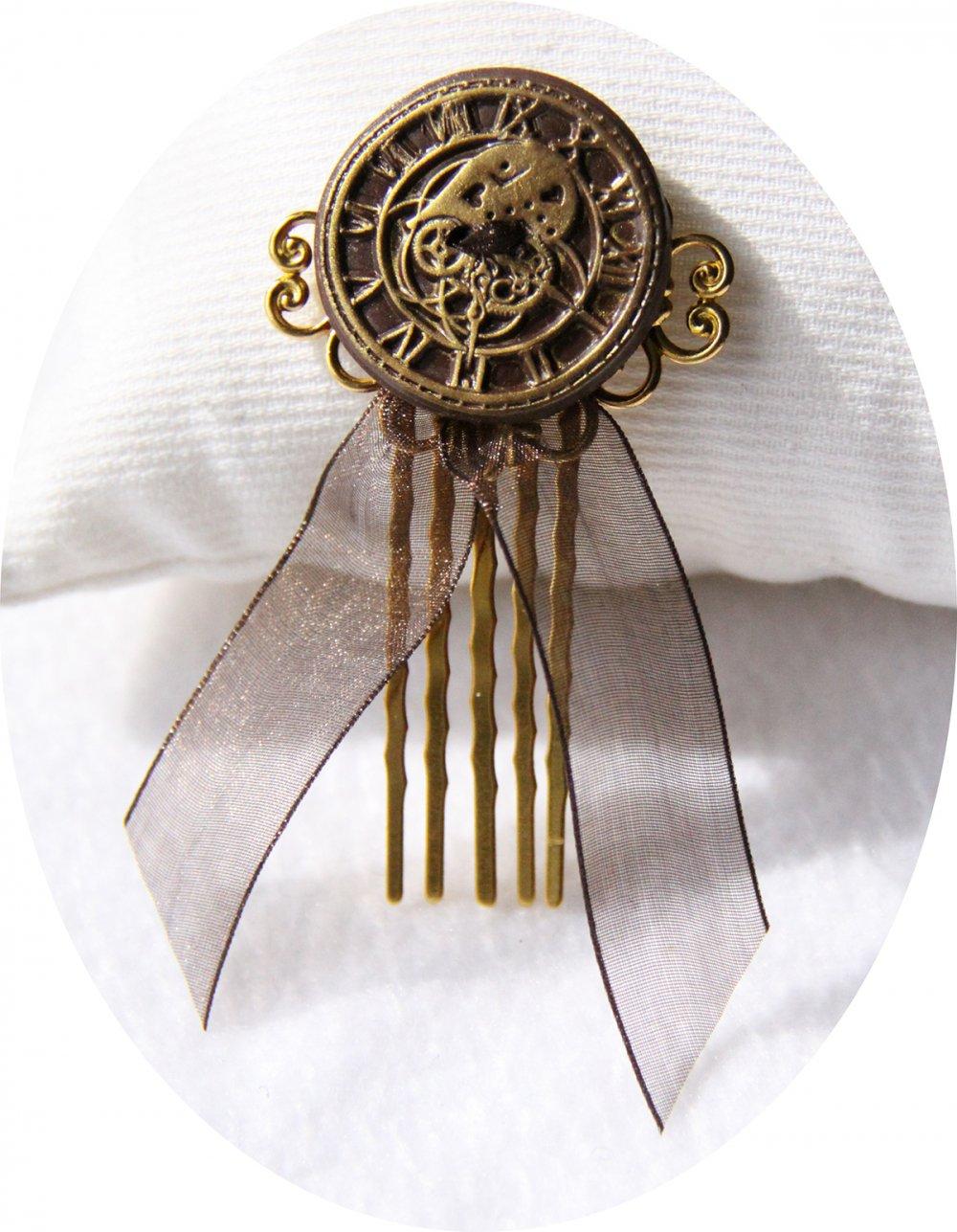 Pic peigne à cheveux Steampunk bronze et doré--2226194421393
