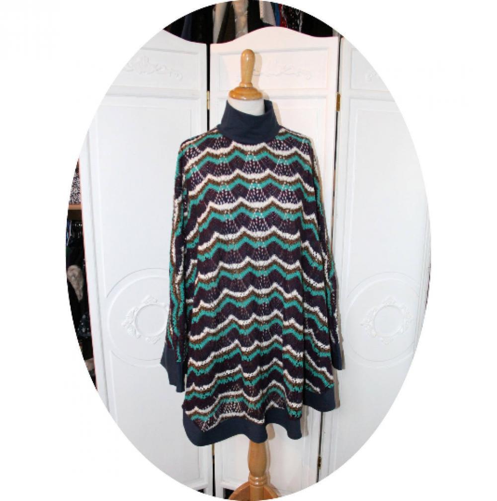 Poncho cape en maille coton ajourée bleu vert violet blanc motif vagues--9995983659134
