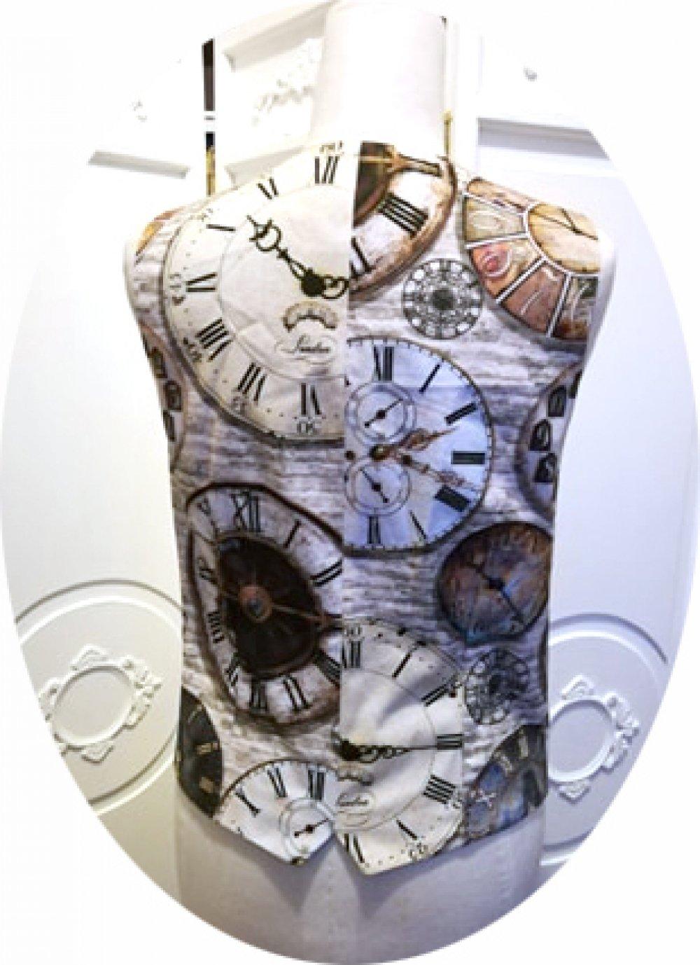 RESERVE - Gilet sans manches style Steampunk en coton imprimé horloges--9995836114445