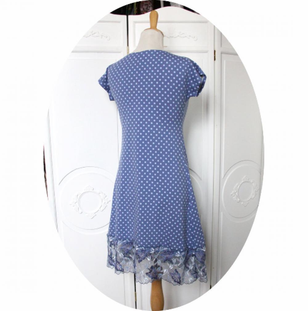 Robe P'tit Basique courte et trapeze à manches courtes en jersey coton bleu a pois et dentelle brodée bleue--9995544053265