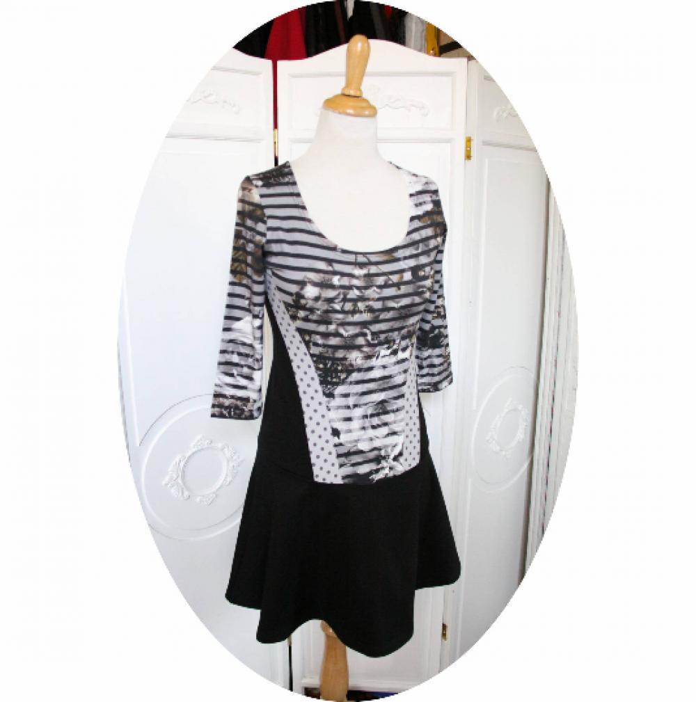 Robe bustier à jupe patineuse et manches trois quart en jersey de coton noir et rayé gris et noir--9995541483140