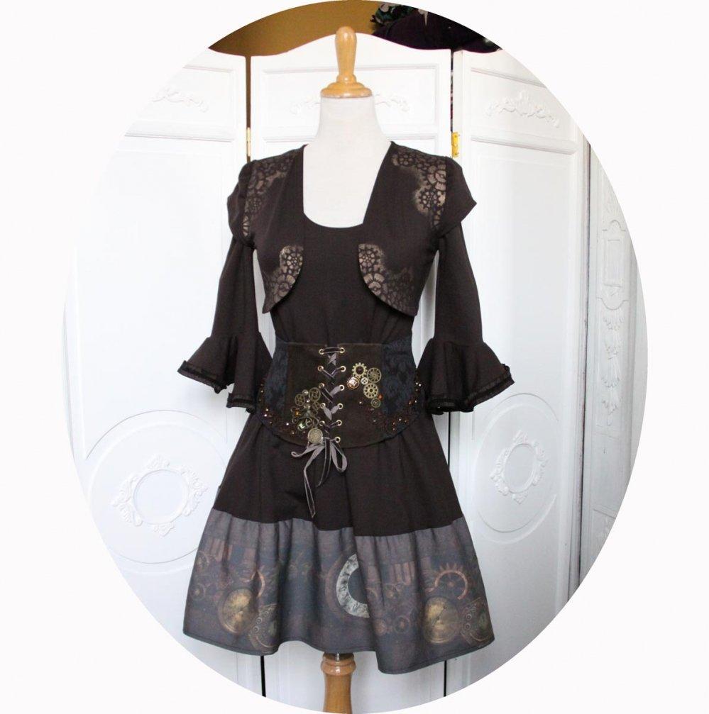 Robe courte evasée marron à manches trois quart en jersey de coton marron uni et coton imprimé horloge et rouages steampunk bronze--9995540636165